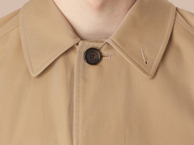 Long Cotton Gabardine Car Coat in Honey - cell image 4