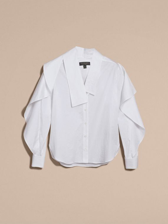 Sculptural Stretch Cotton Shirt in White - Women | Burberry - cell image 3