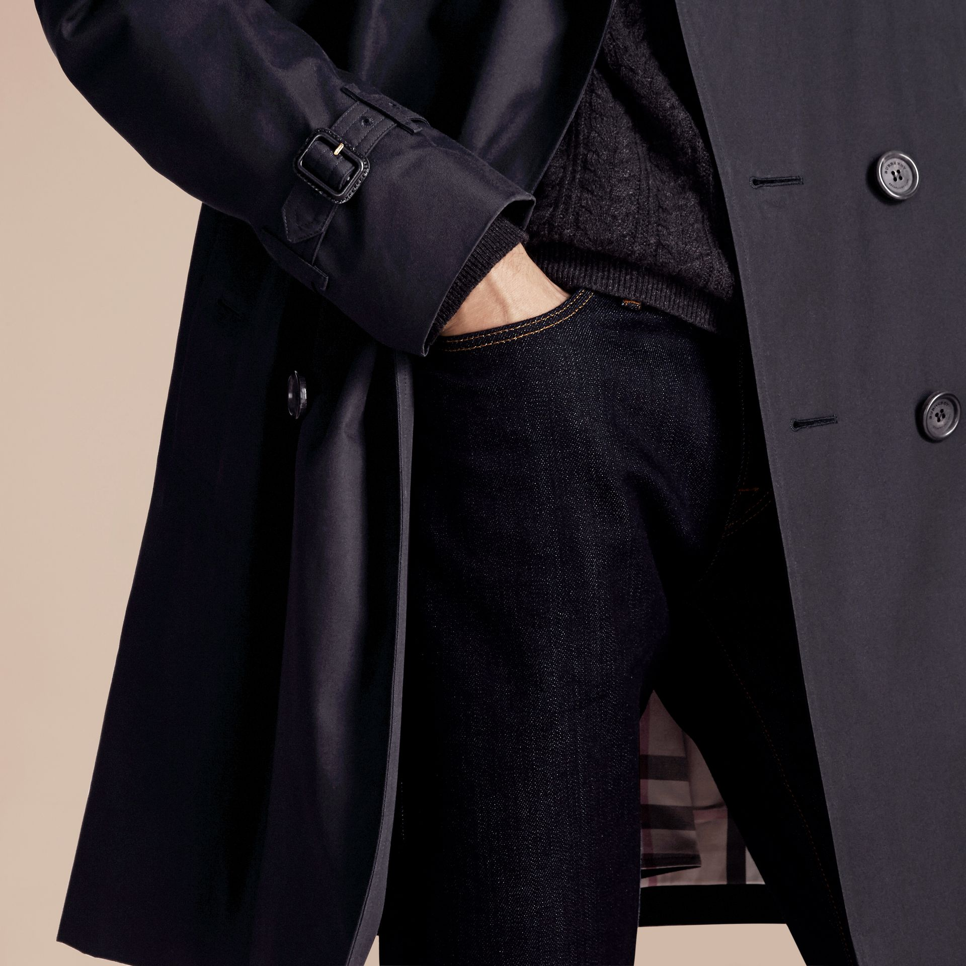 Navy The Kensington – Long Heritage Trench Coat Navy - gallery image 7