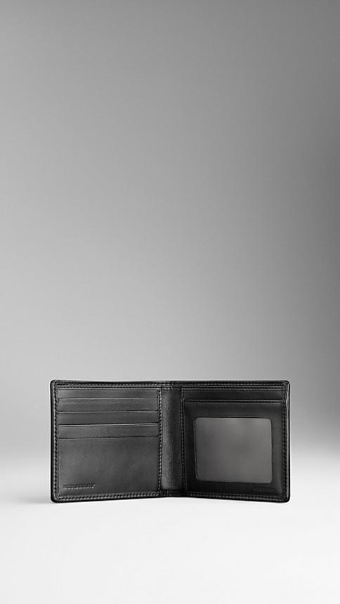 Black London Leather ID Wallet Black - Image 3