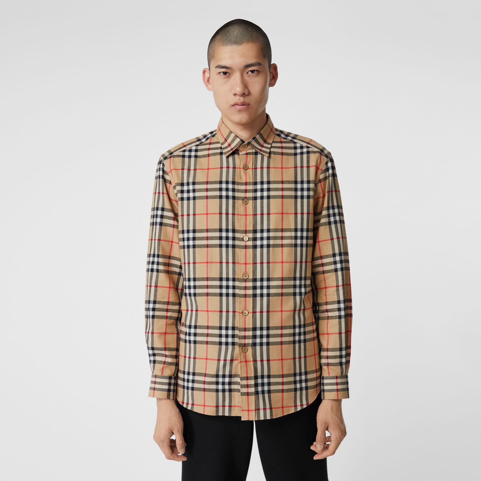 Vintage Check Cotton Flannel Shirt in Archive Beige - Men | Burberry - gallery image 4