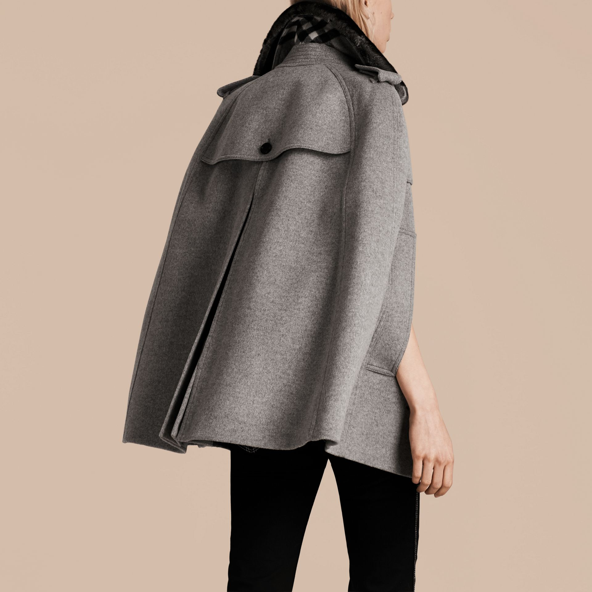 Pale grey melange Wool Cashmere Trench Cape with Detachable Fur Collar - gallery image 3