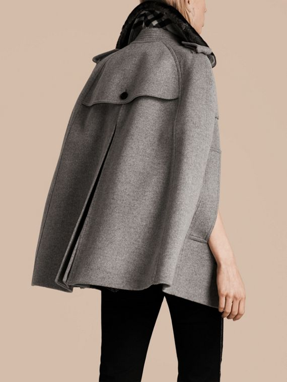 Pale grey melange Wool Cashmere Trench Cape with Detachable Fur Collar - cell image 2
