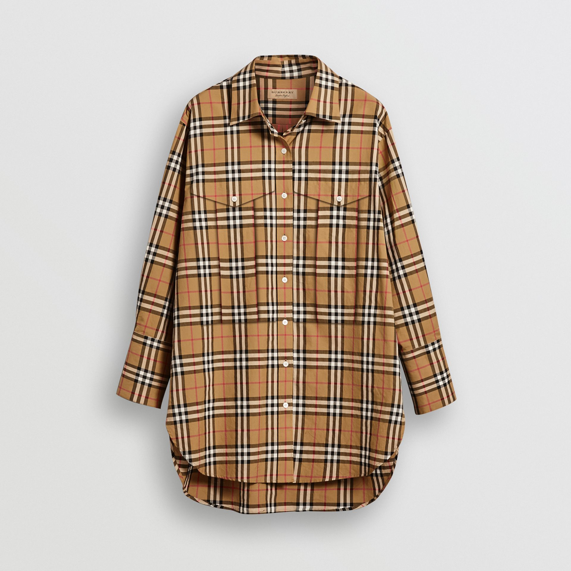 Chemise en coton à motif Vintage check (Jaune Antique) - Femme | Burberry - photo de la galerie 3
