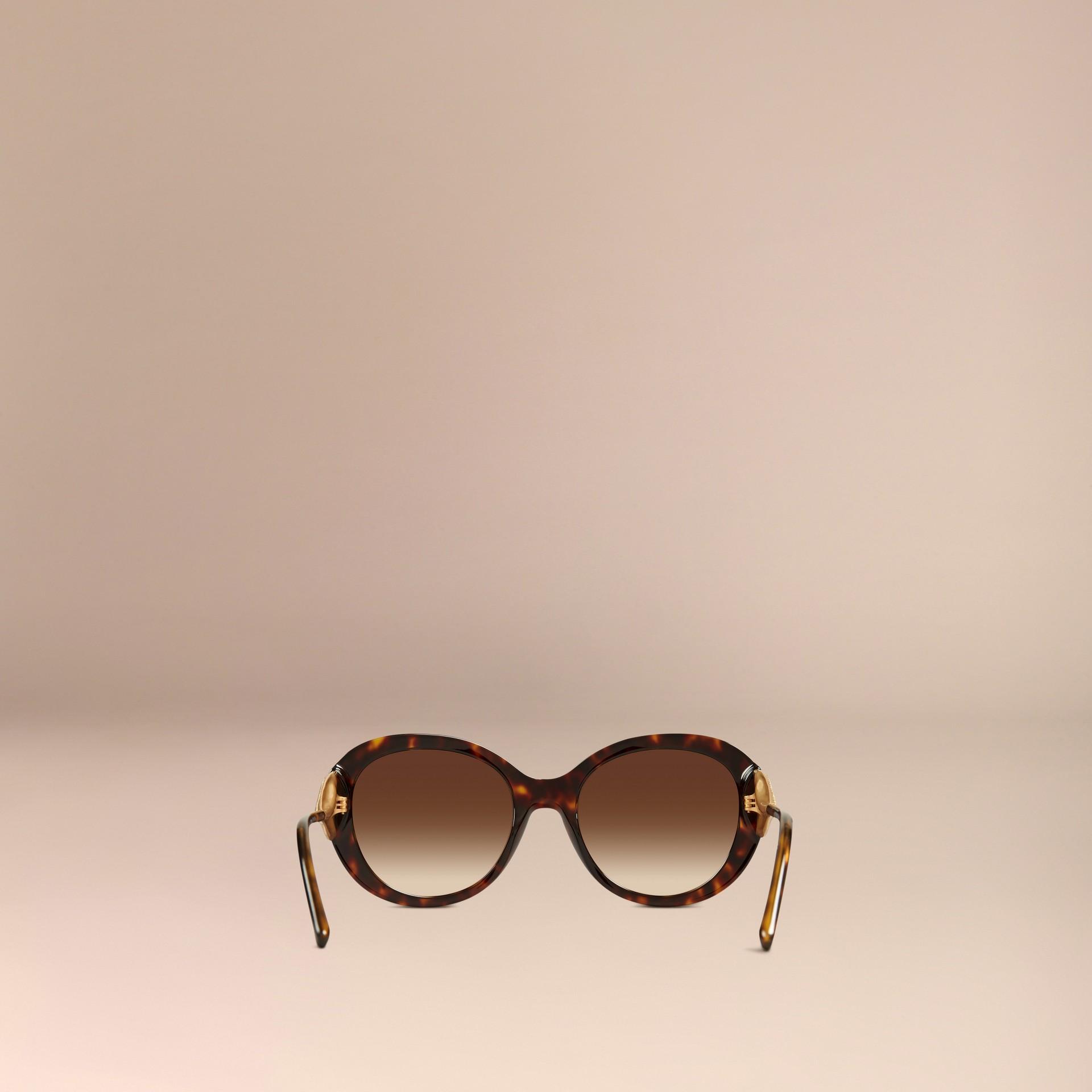Ebano Occhiali da sole oversize con montatura tonda collezione Gabardine Ebano - immagine della galleria 4
