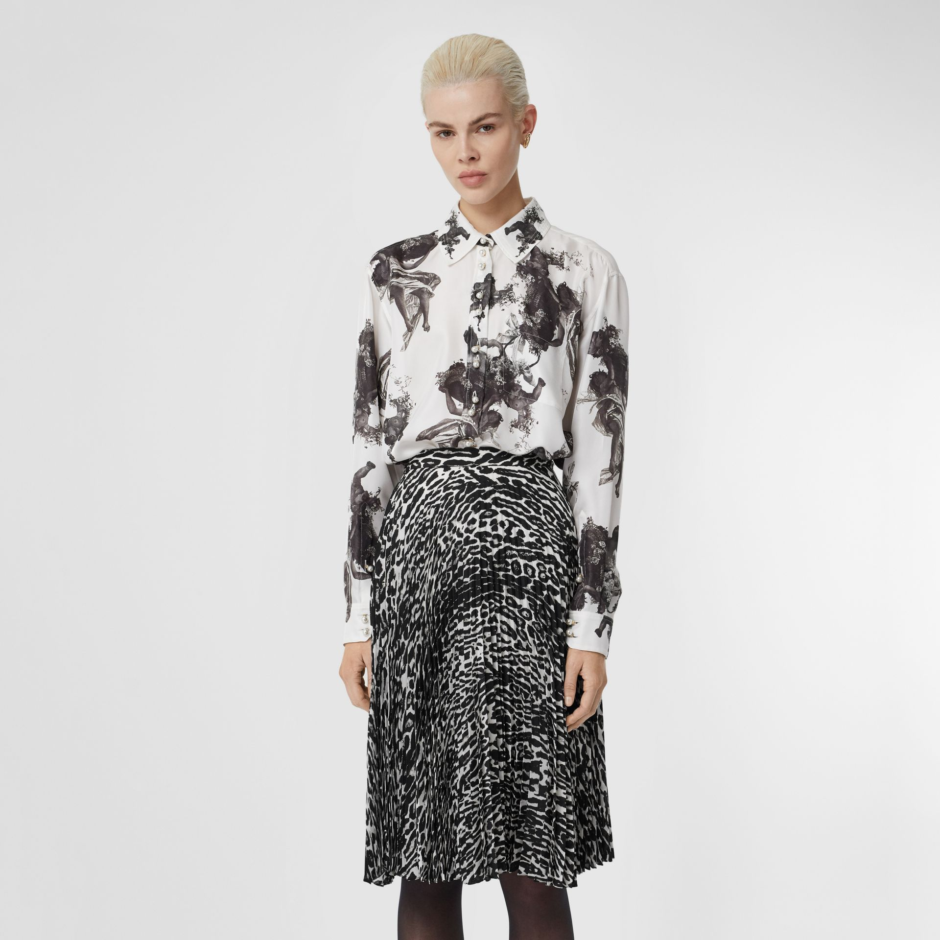 Angel Print Silk Twill Shirt in Black - Women | Burberry - gallery image 0