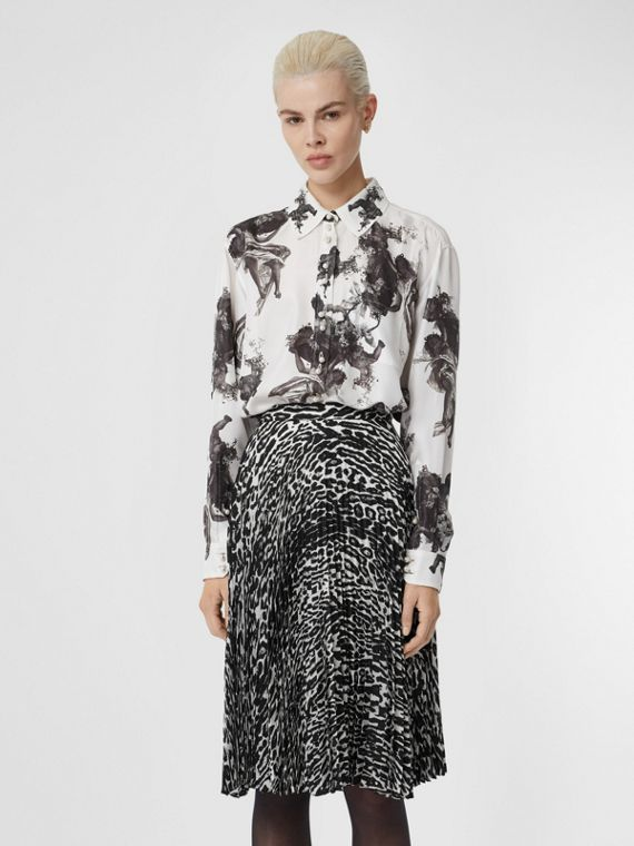 Angel Print Silk Twill Shirt in Black