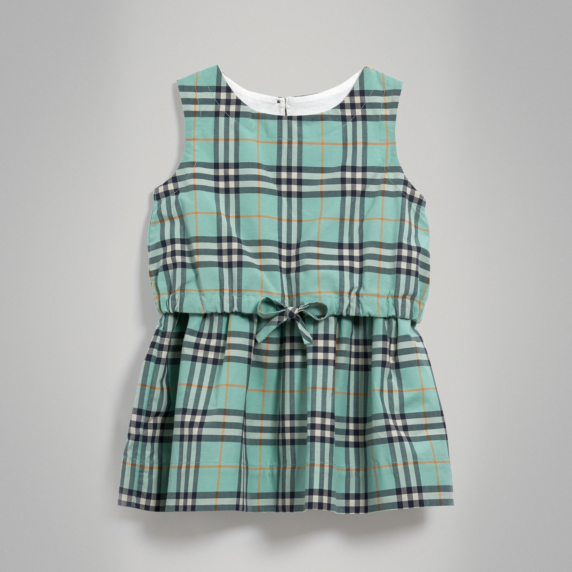 Gathered Check Cotton Dress in Bright Aqua - Children | Burberry - gallery image 0
