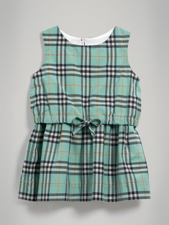 Gathered Check Cotton Dress in Bright Aqua