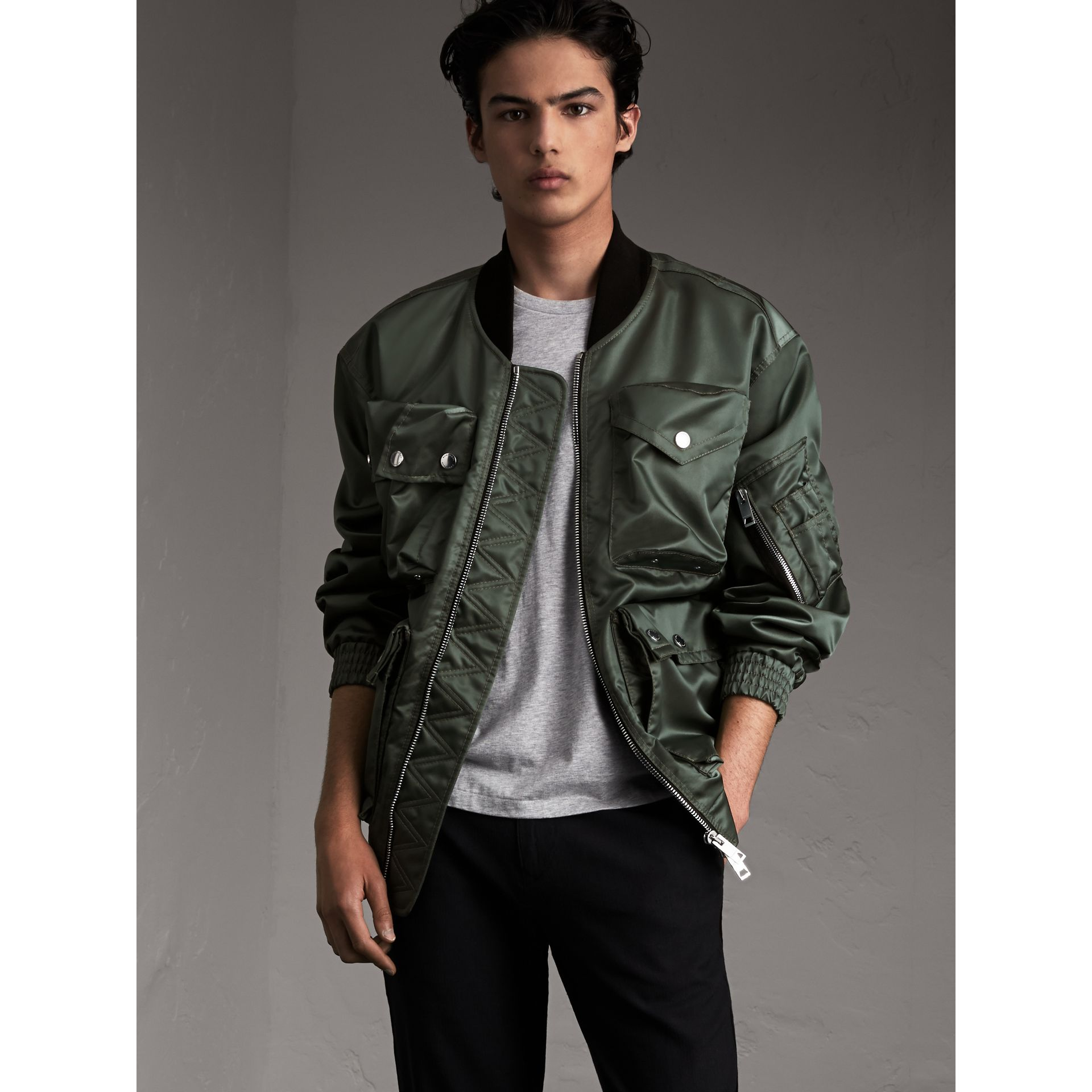 Contrast Collar Lightweight Flying Jacket in Storm Green - Men | Burberry - gallery image 1