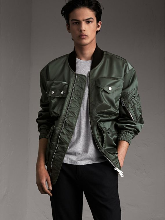 Contrast Collar Lightweight Bomber Jacket