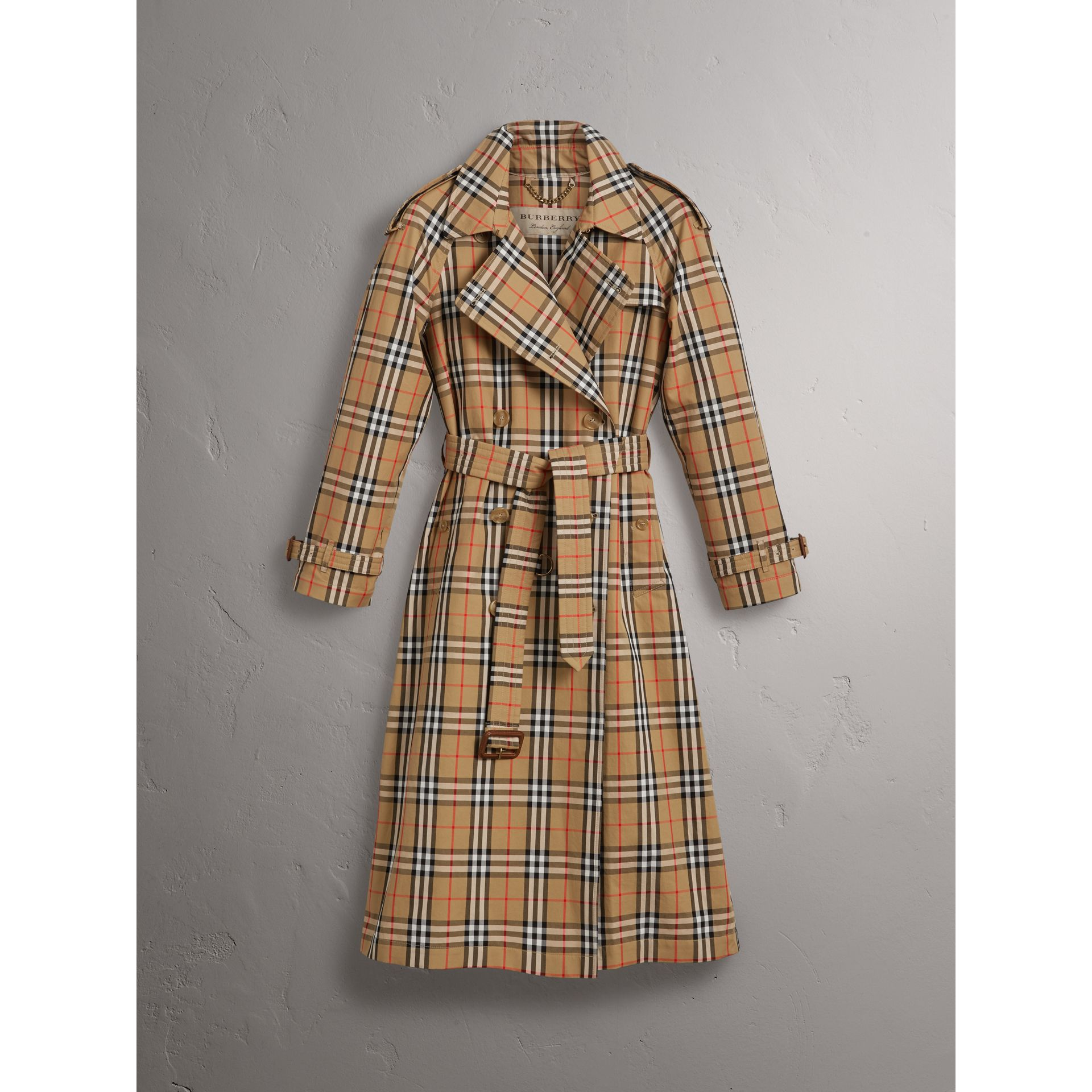 Vintage Check Cotton Trench Coat in Antique Yellow - Women | Burberry United Kingdom - gallery image 3