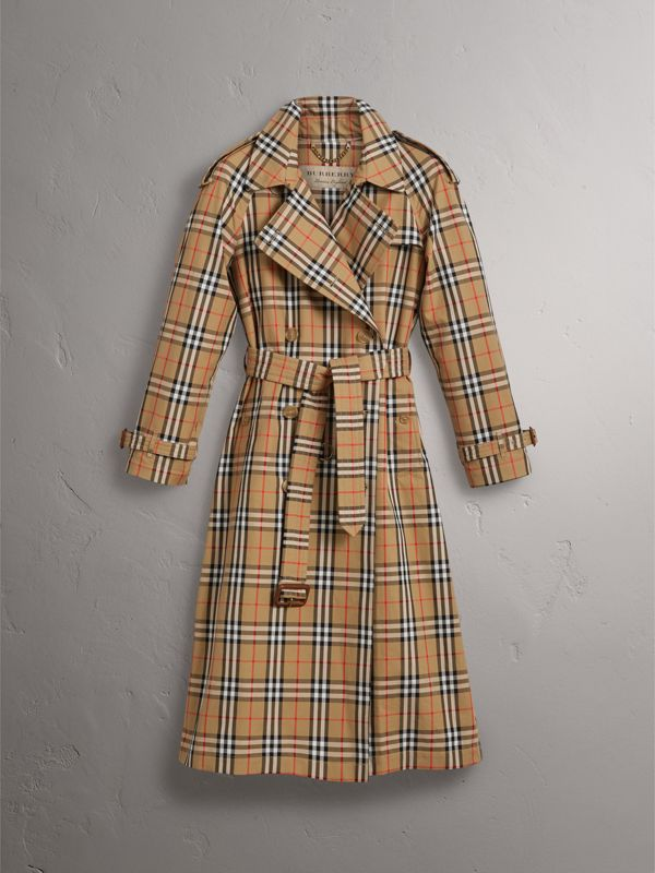 Vintage Check Cotton Trench Coat in Antique Yellow - Women | Burberry United Kingdom - cell image 3