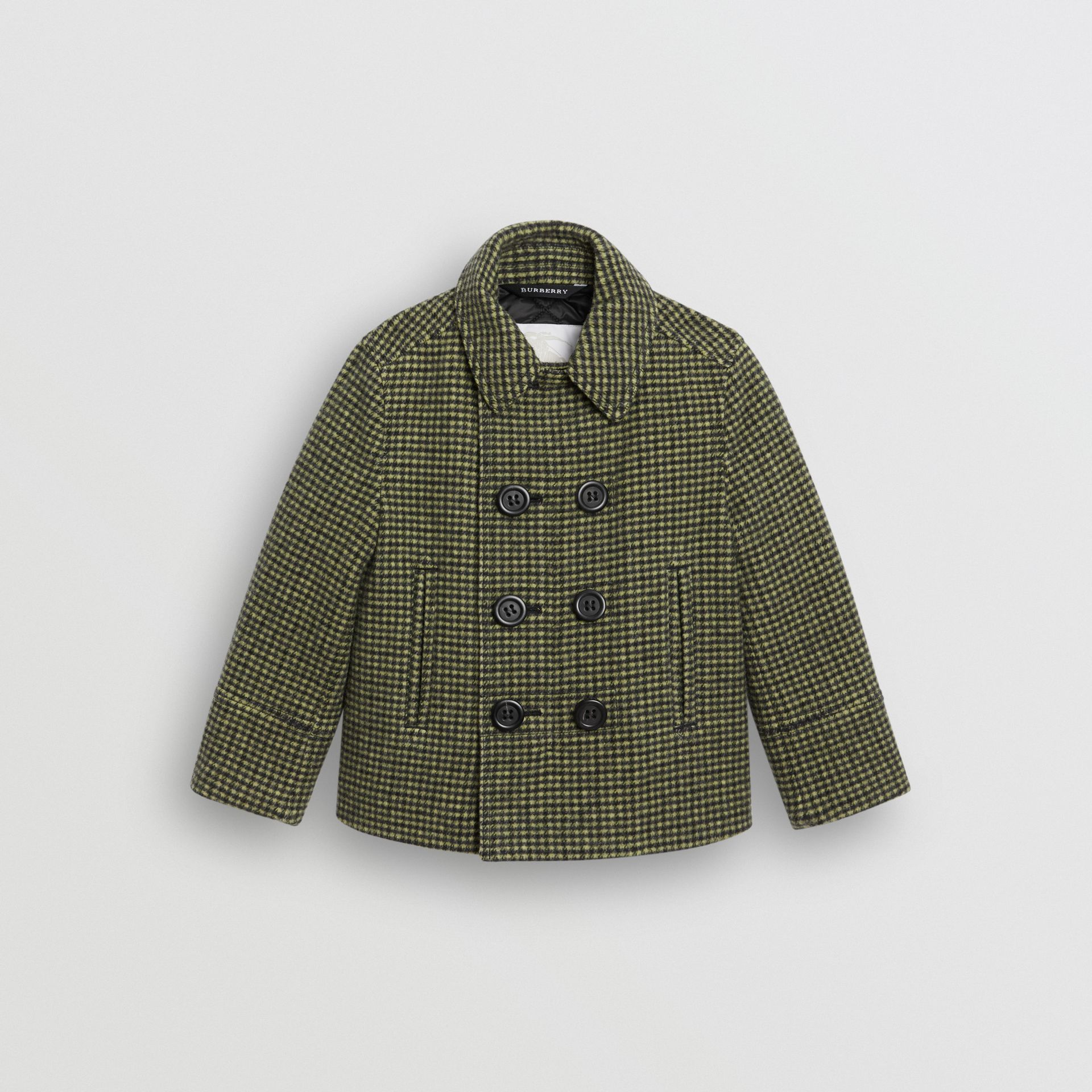 Check Wool Blend Tailored Coat in Grass Green - Children | Burberry - gallery image 0