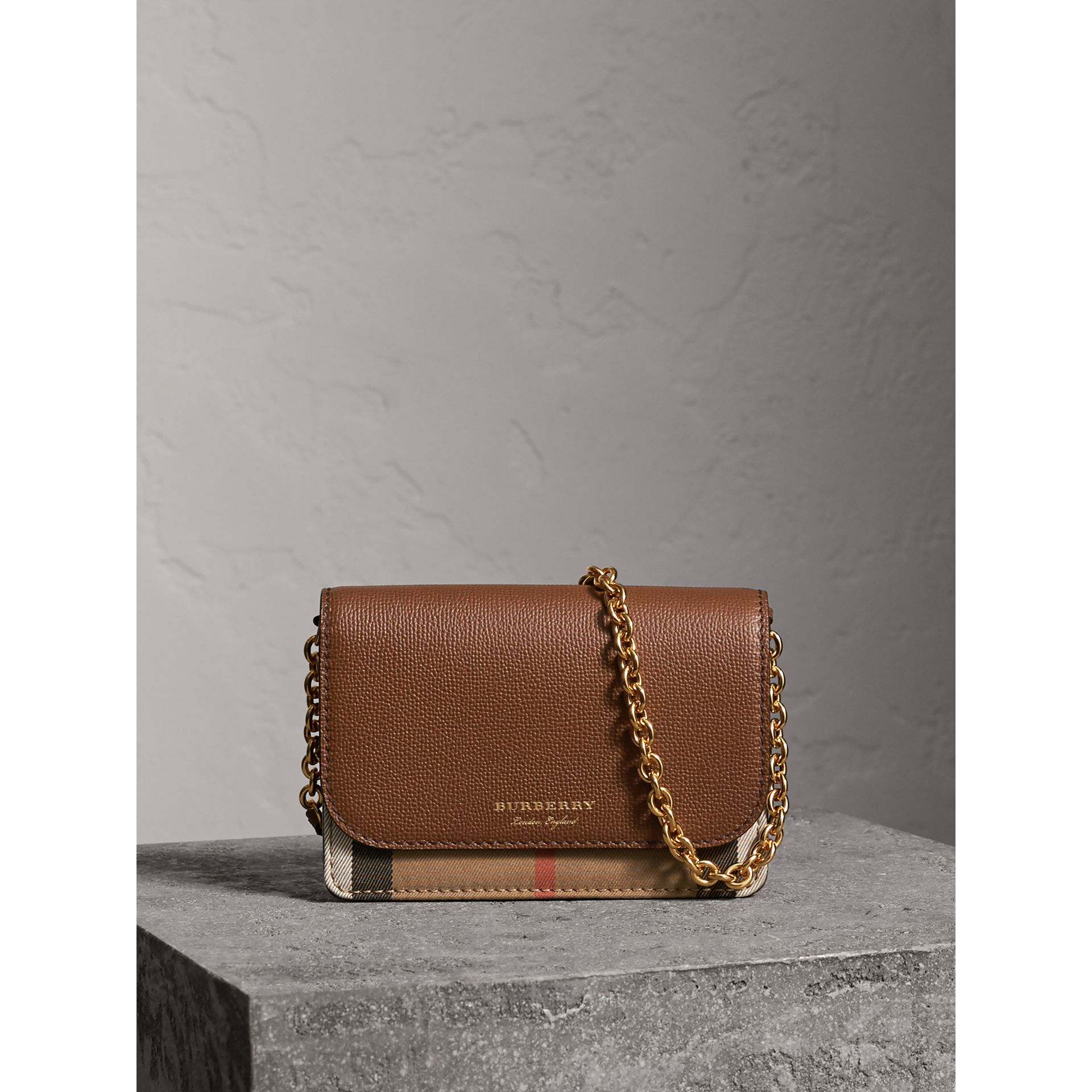 Leather and House Check Wallet with Detachable Strap in Tan - Women | Burberry United Kingdom - gallery image 0