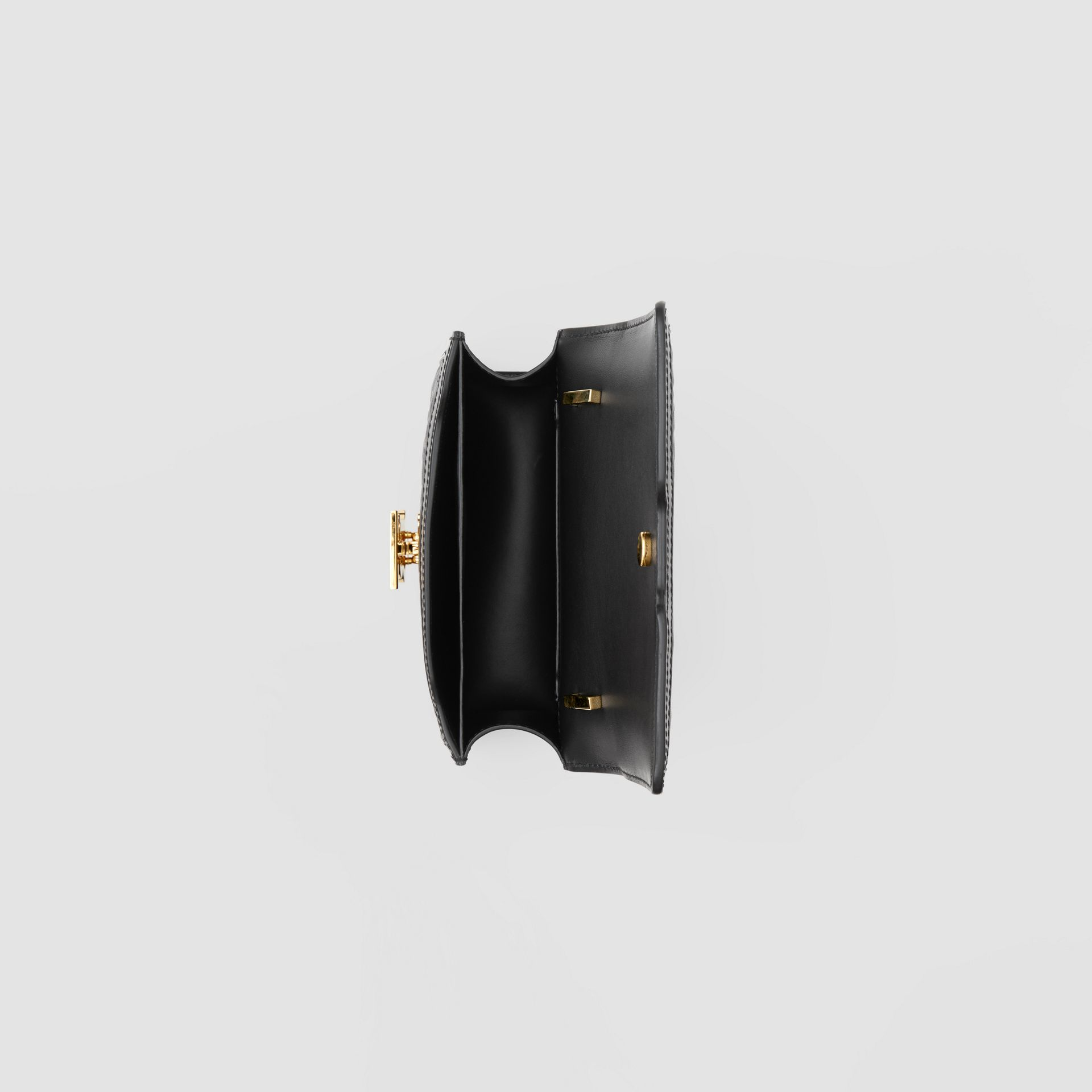 Mini Quilted Monogram Lambskin TB Bag in Black - Women | Burberry United Kingdom - gallery image 3