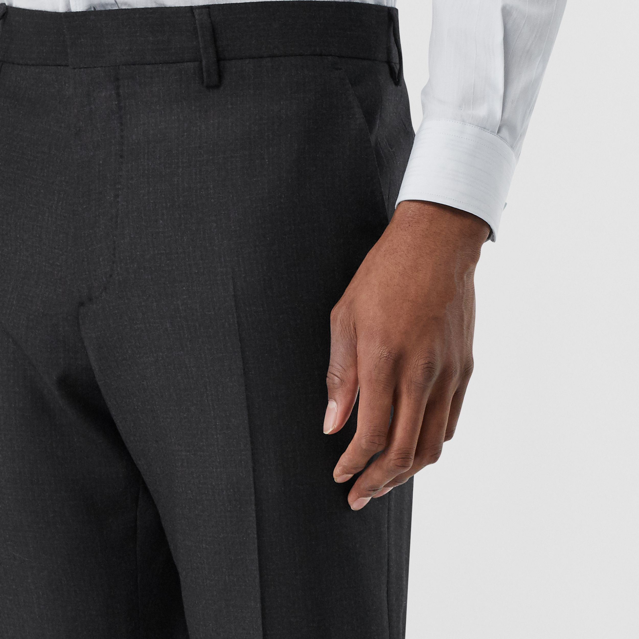 Classic Fit Wool Flannel Tailored Trousers in Black - Men | Burberry - 2