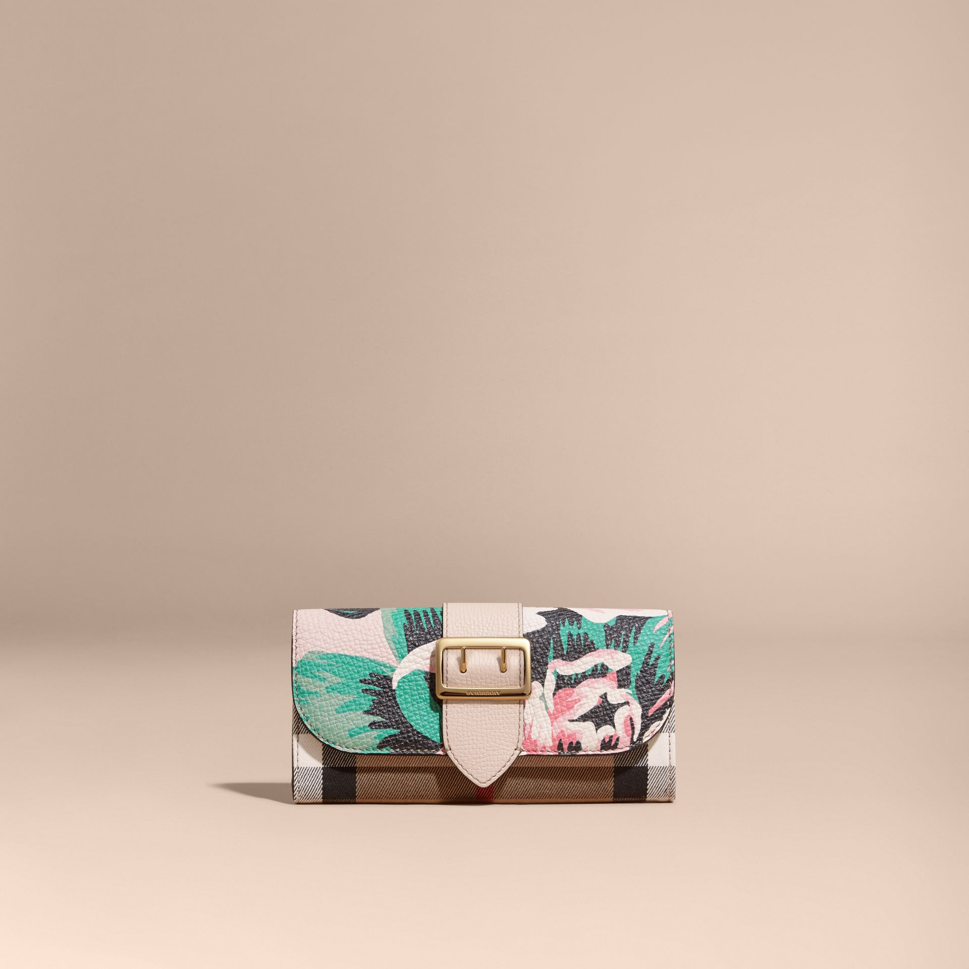 Peony Rose Print and House Check Continental Wallet in Natural/emerald Green - gallery image 6
