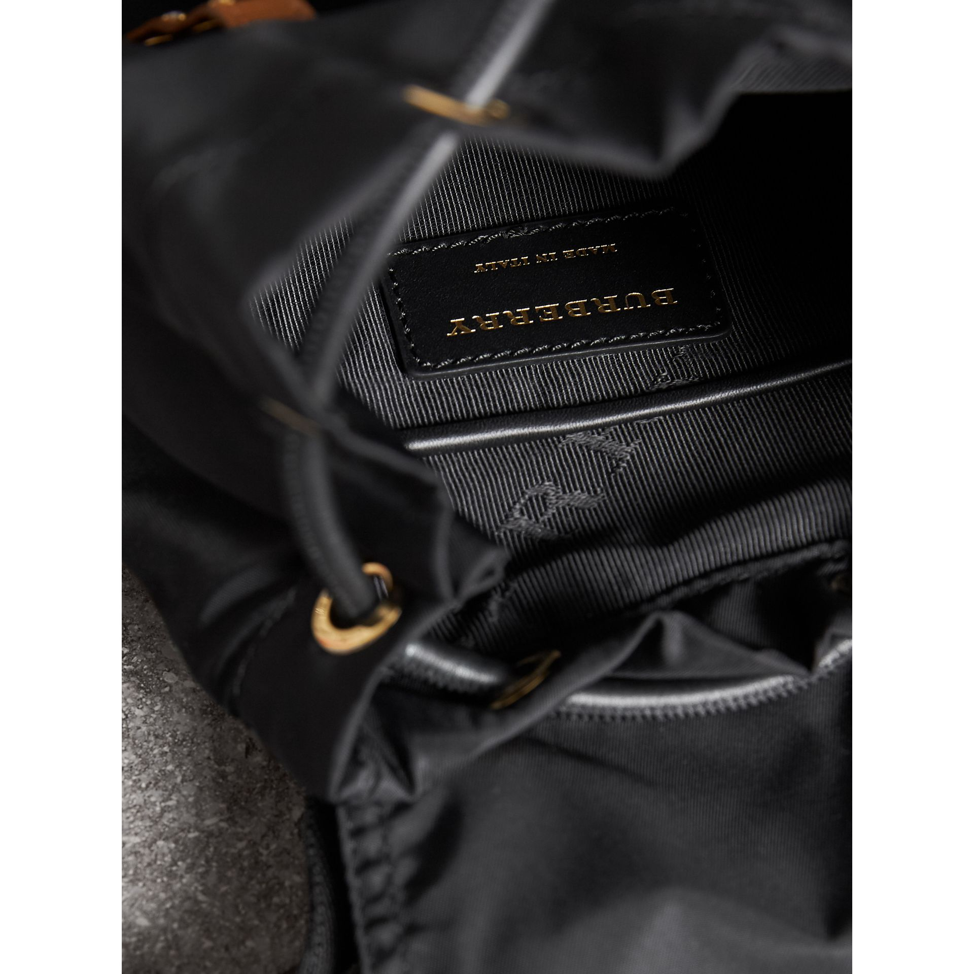 The Small Rucksack in Technical Nylon and Leather in Black - Women | Burberry Singapore - gallery image 5