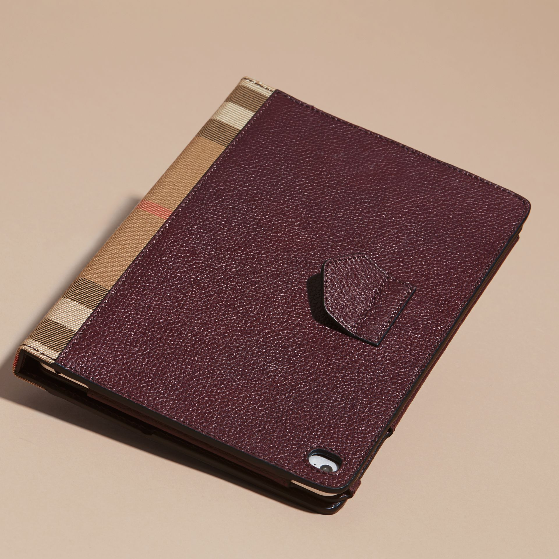 Wine Grainy Leather and House Check iPad Case Wine - gallery image 4