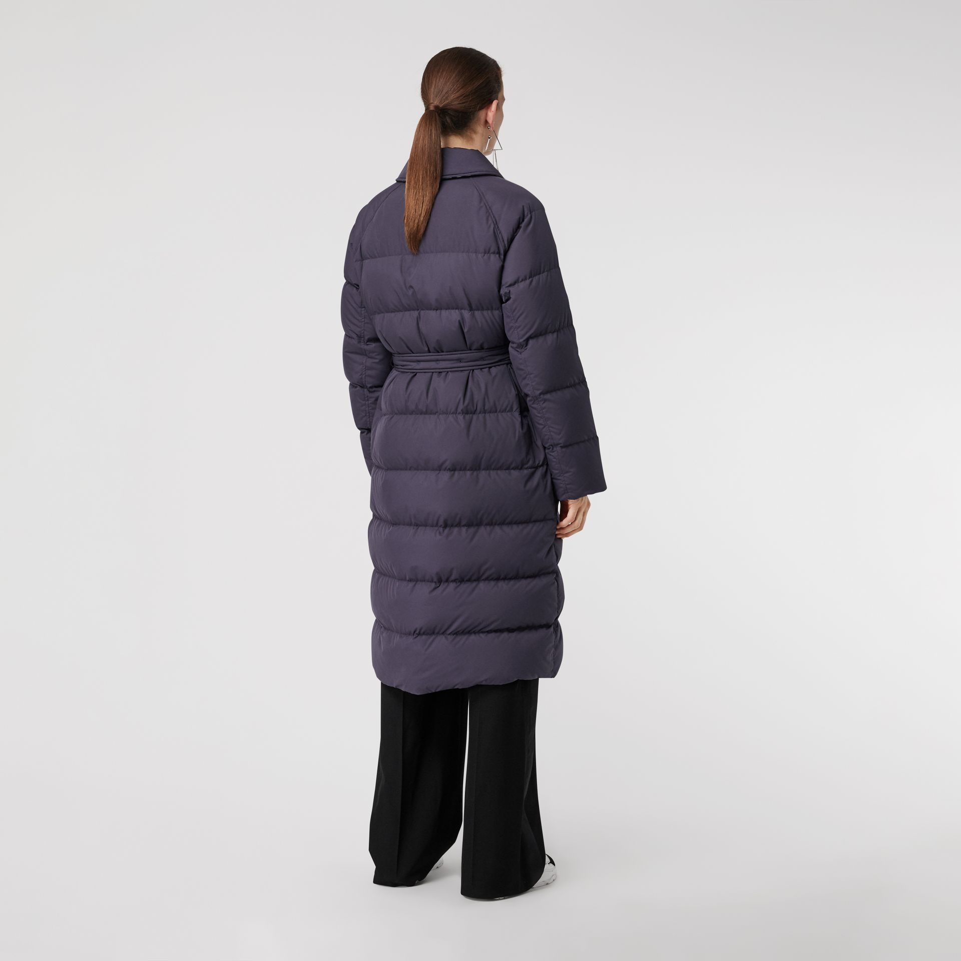 Belted Long Down-filled Puffer Coat in Navy - Women | Burberry - gallery image 2
