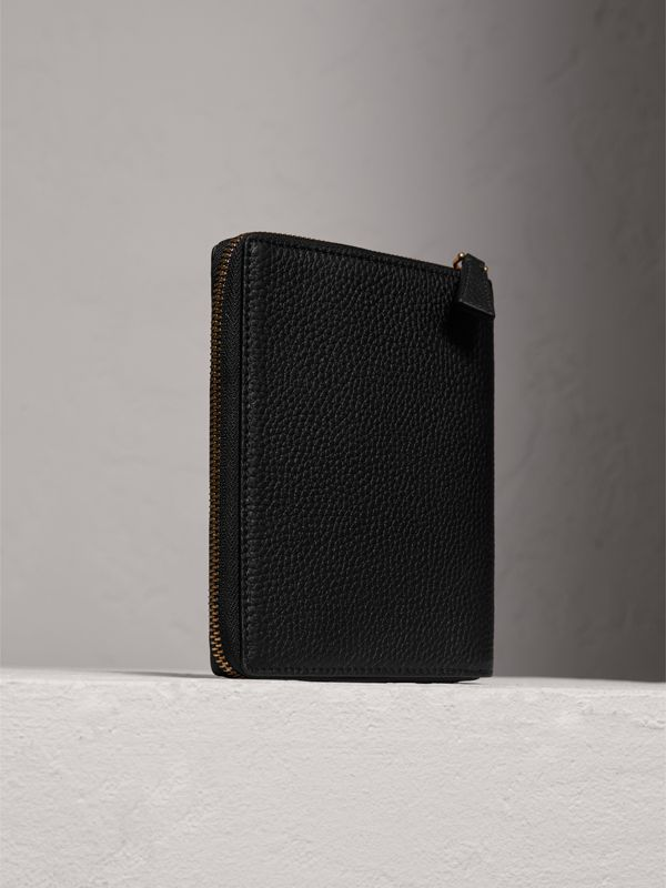 Embossed Grainy Leather Ziparound A6 Notebook Case in Black | Burberry - cell image 2
