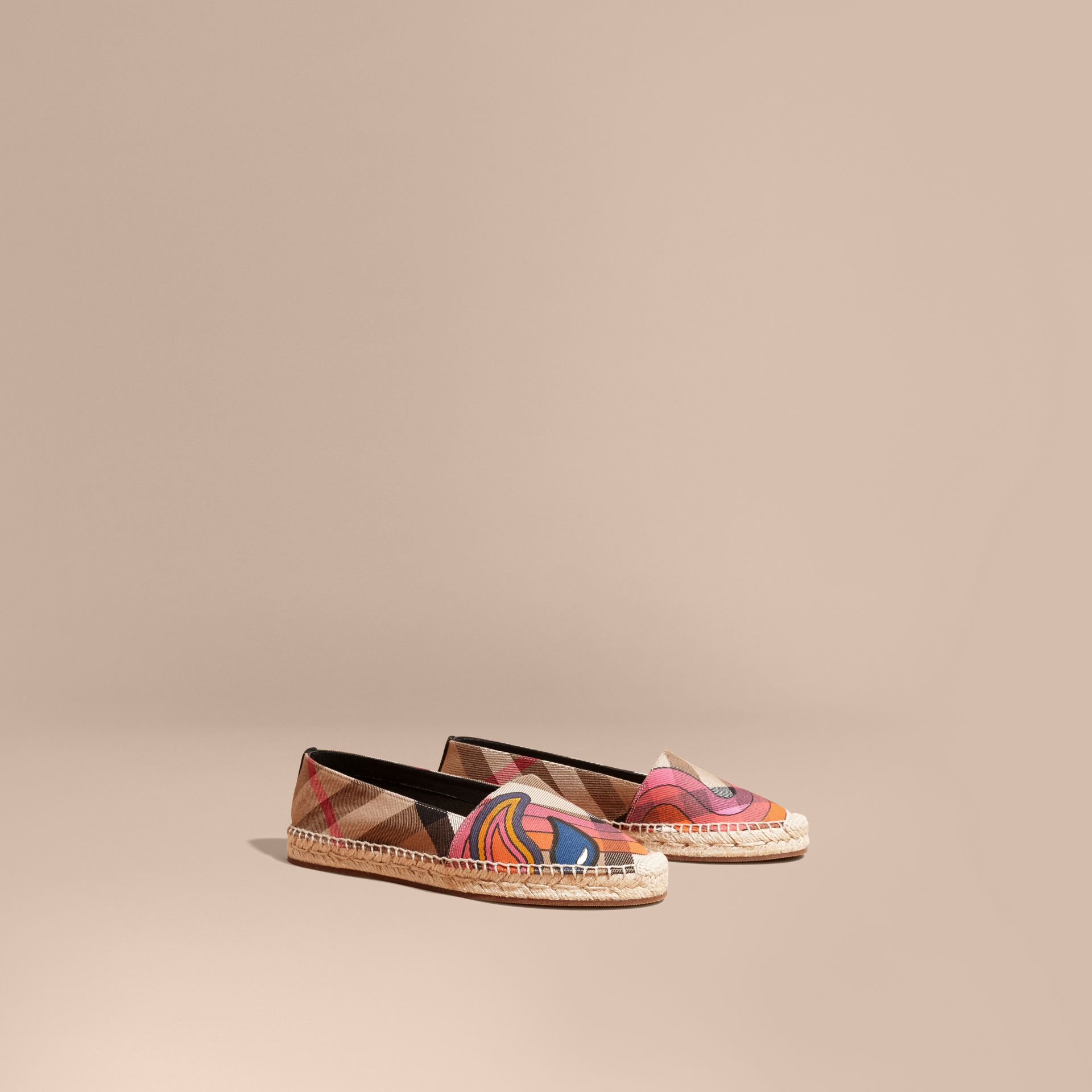 Rainbow Graphic Print Canvas and Suede Check Espadrilles - gallery image 1