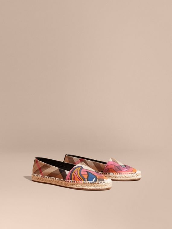 Rainbow Graphic Print Canvas and Suede Check Espadrilles