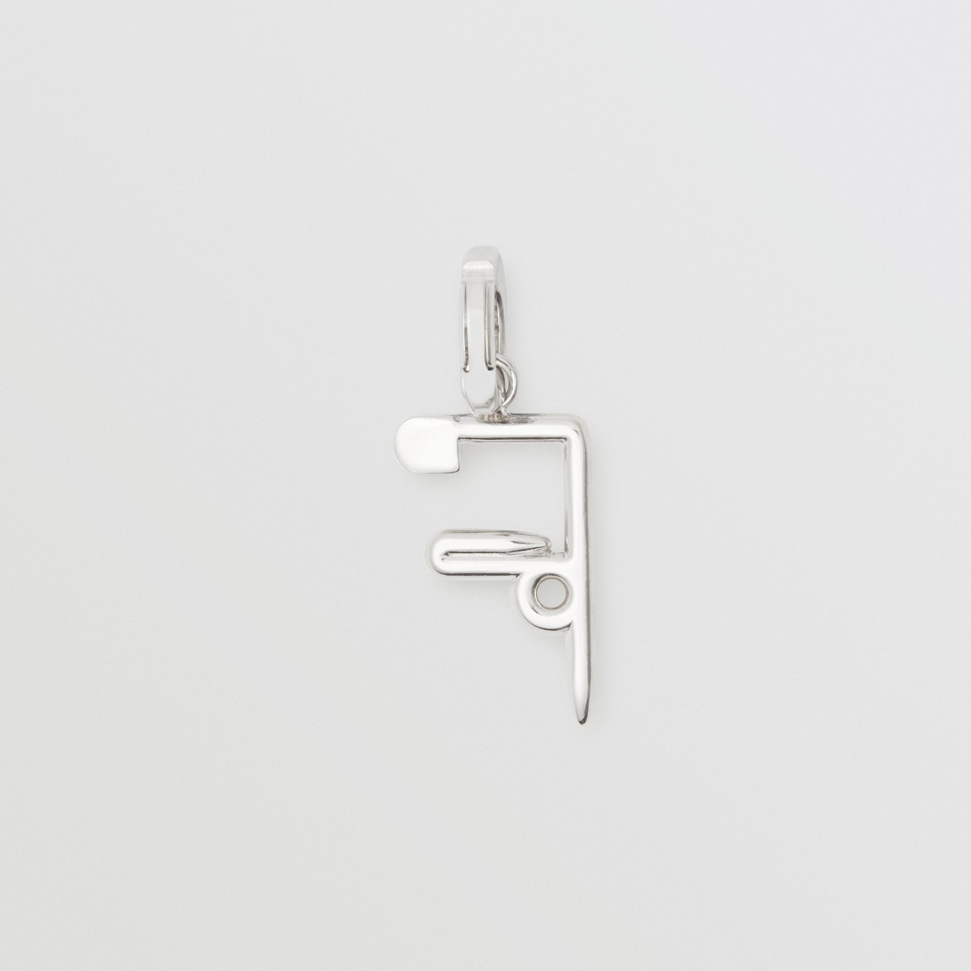 Kilt Pin 'F' Alphabet Charm in Palladio - Women | Burberry - gallery image 1