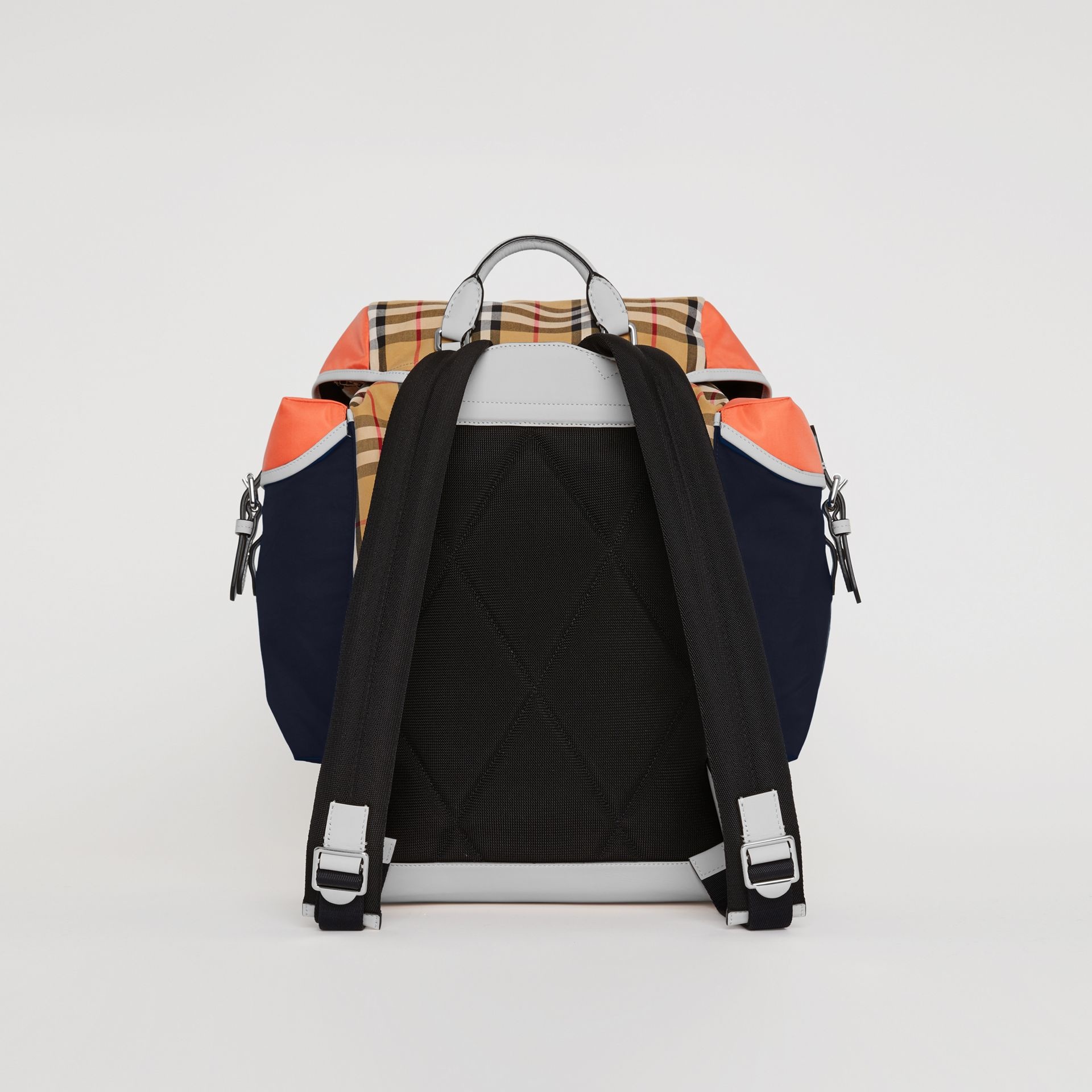 Colour Block Vintage Check and Leather Backpack in Cerulean Blue - Men | Burberry - gallery image 7