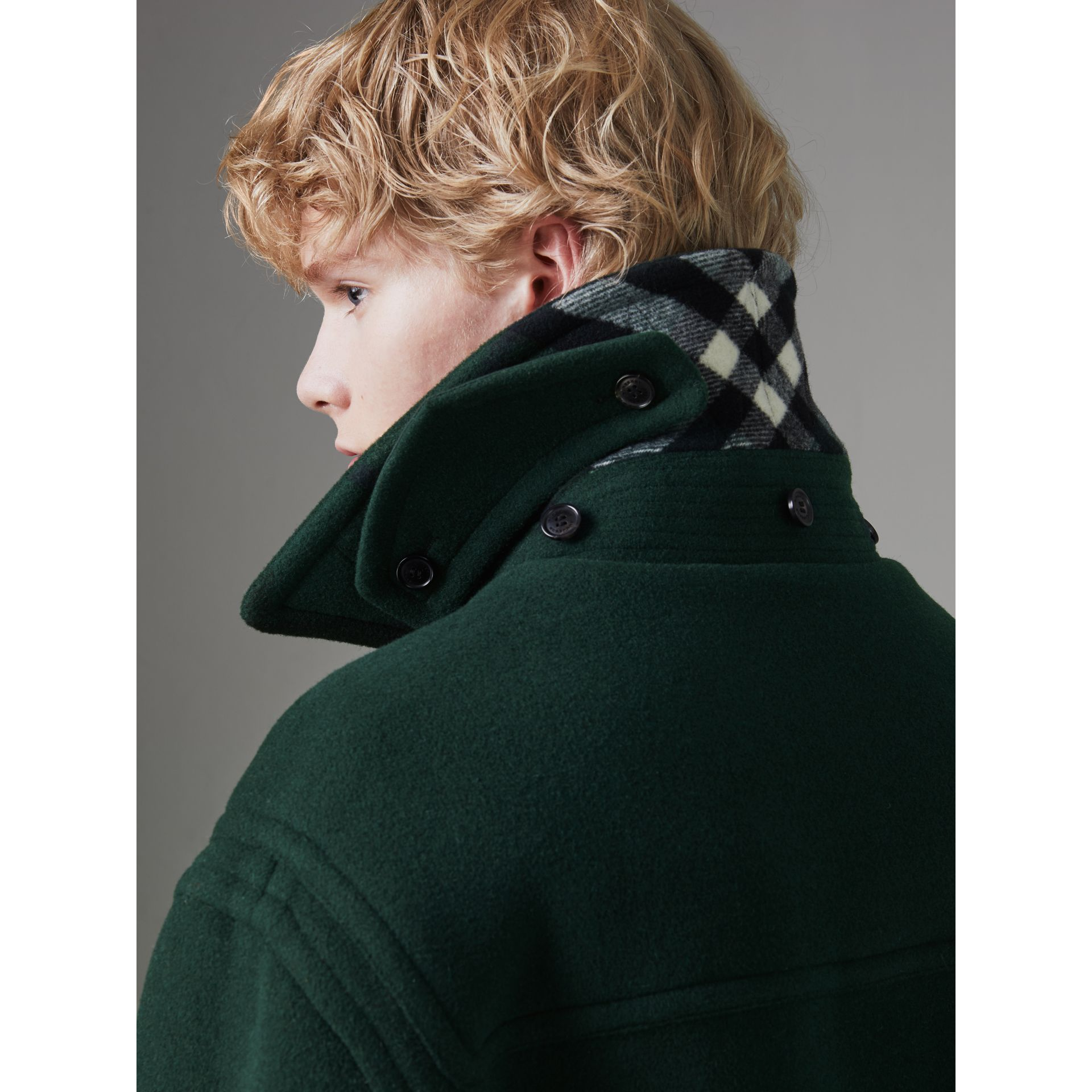 Gosha x Burberry Oversized Duffle Coat in Dark Forest Green | Burberry - gallery image 4