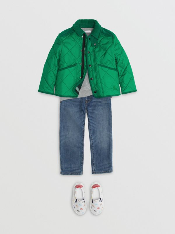 Corduroy Trim Diamond Quilted Jacket in Vibrant Green | Burberry - cell image 2