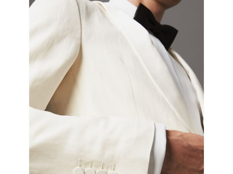 Modern Fit Shawl Lapel Linen Silk Evening Jacket in Off White - Men | Burberry United Kingdom - cell image 1