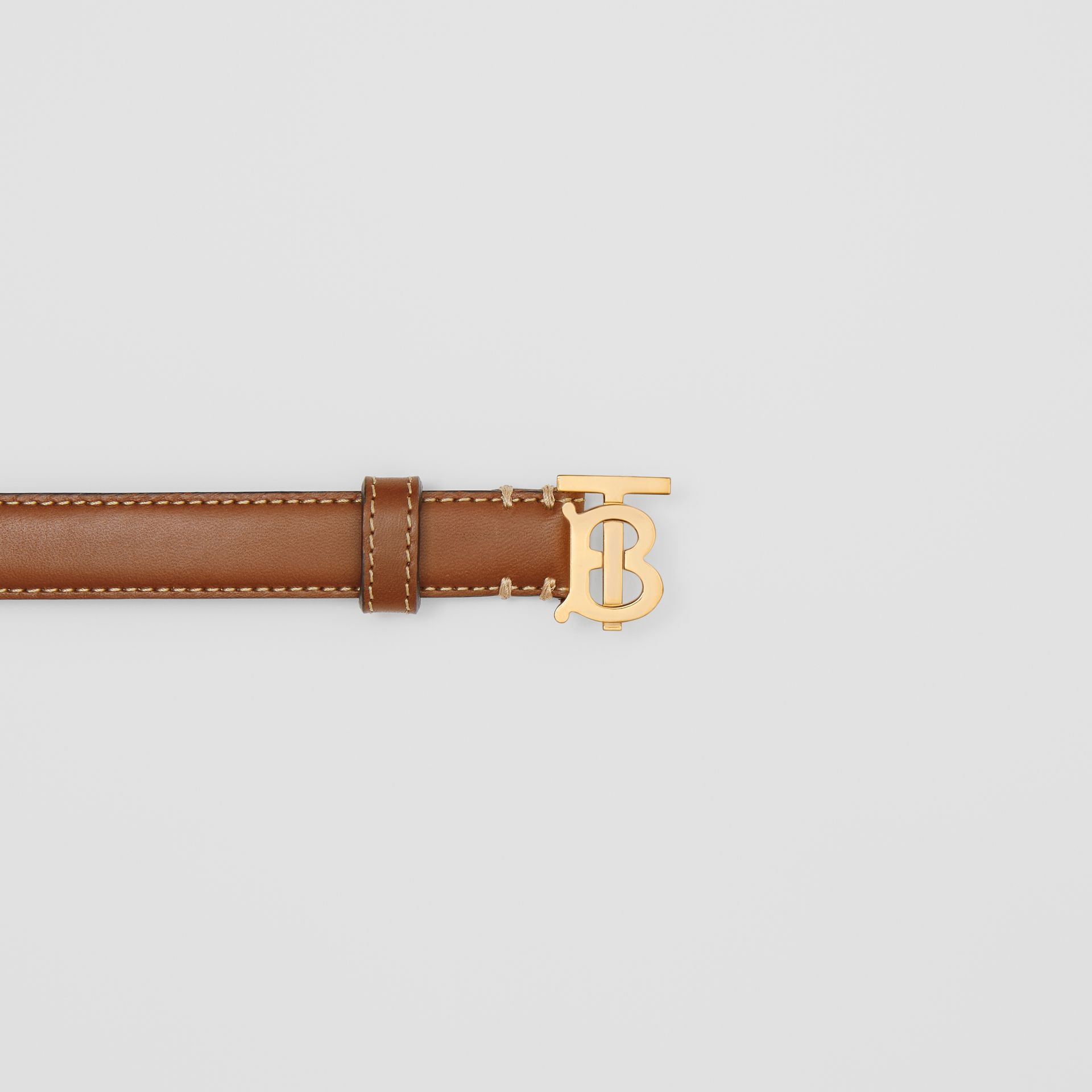 Monogram Motif Topstitched Leather Belt in Tan/light Gold - Women | Burberry United Kingdom - gallery image 1