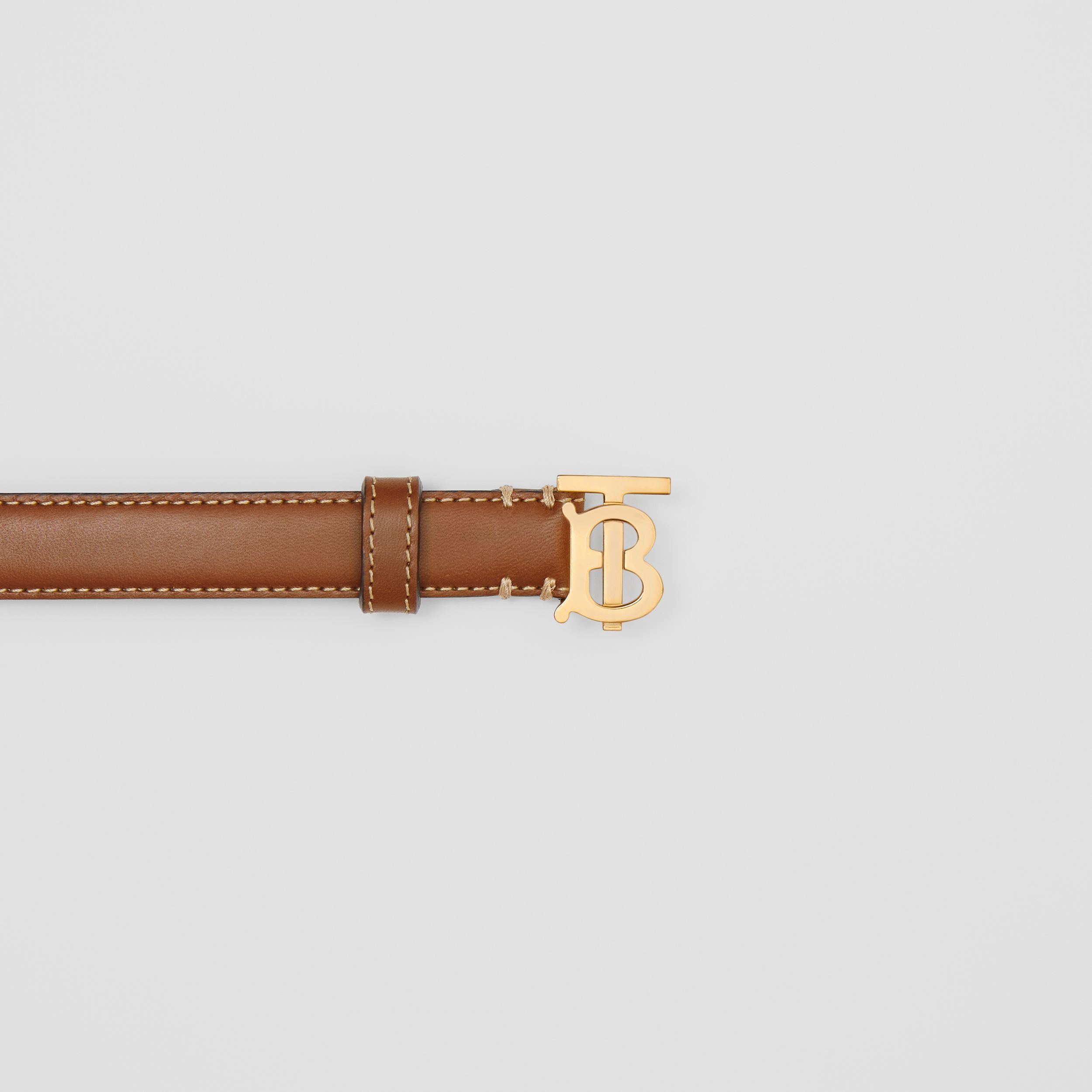 Monogram Motif Topstitched Leather Belt in Tan/light Gold - Women | Burberry - 2