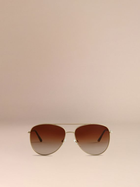 Pale gold Check Arm Pilot Sunglasses - cell image 2
