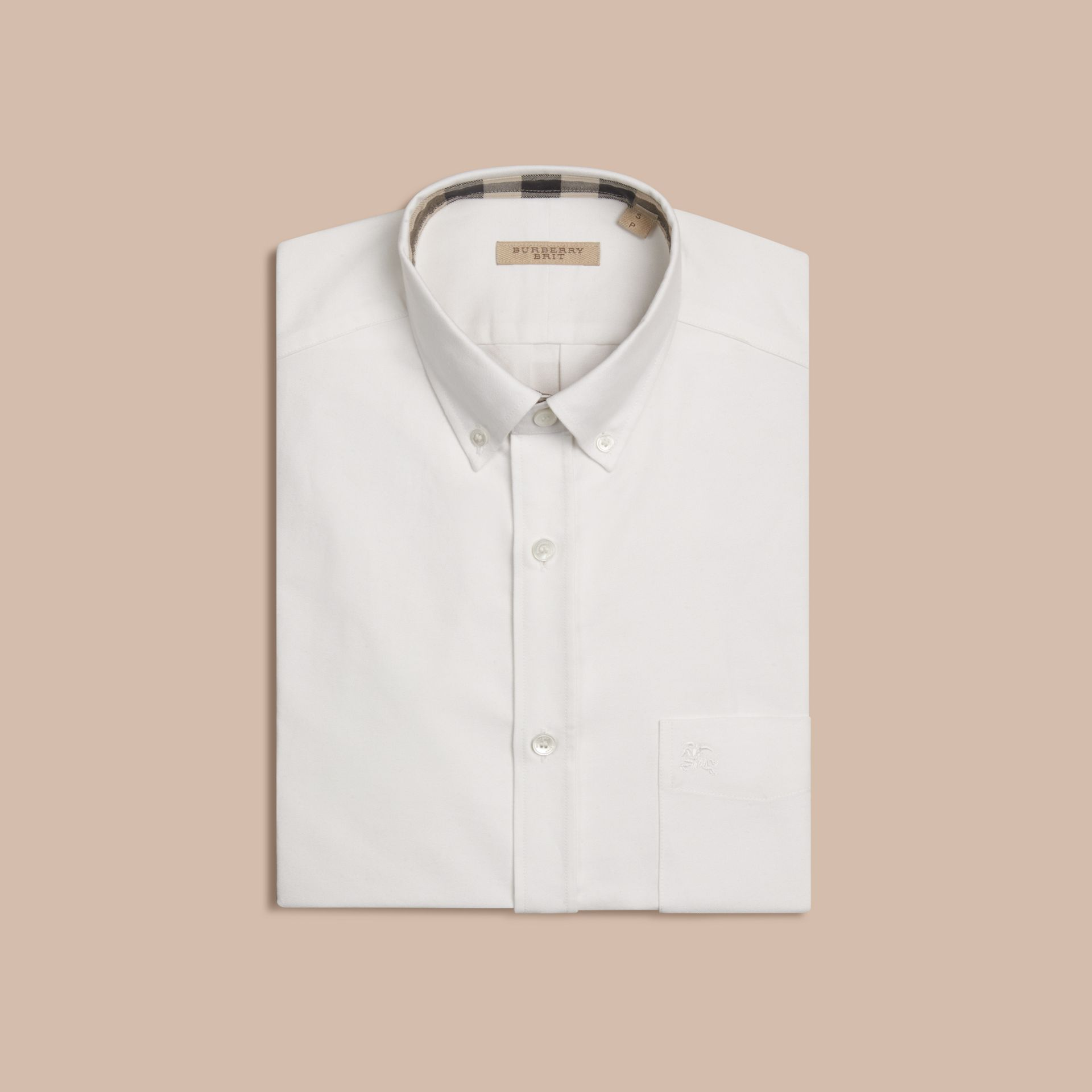 Check Detail Cotton Oxford Shirt White - gallery image 4