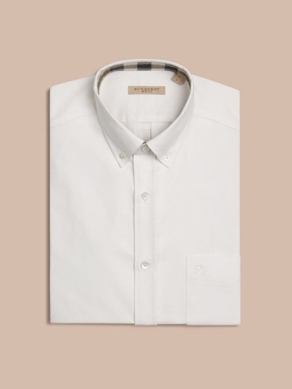 Check Detail Cotton Oxford Shirt in White - Men | Burberry Hong Kong - cell image 3