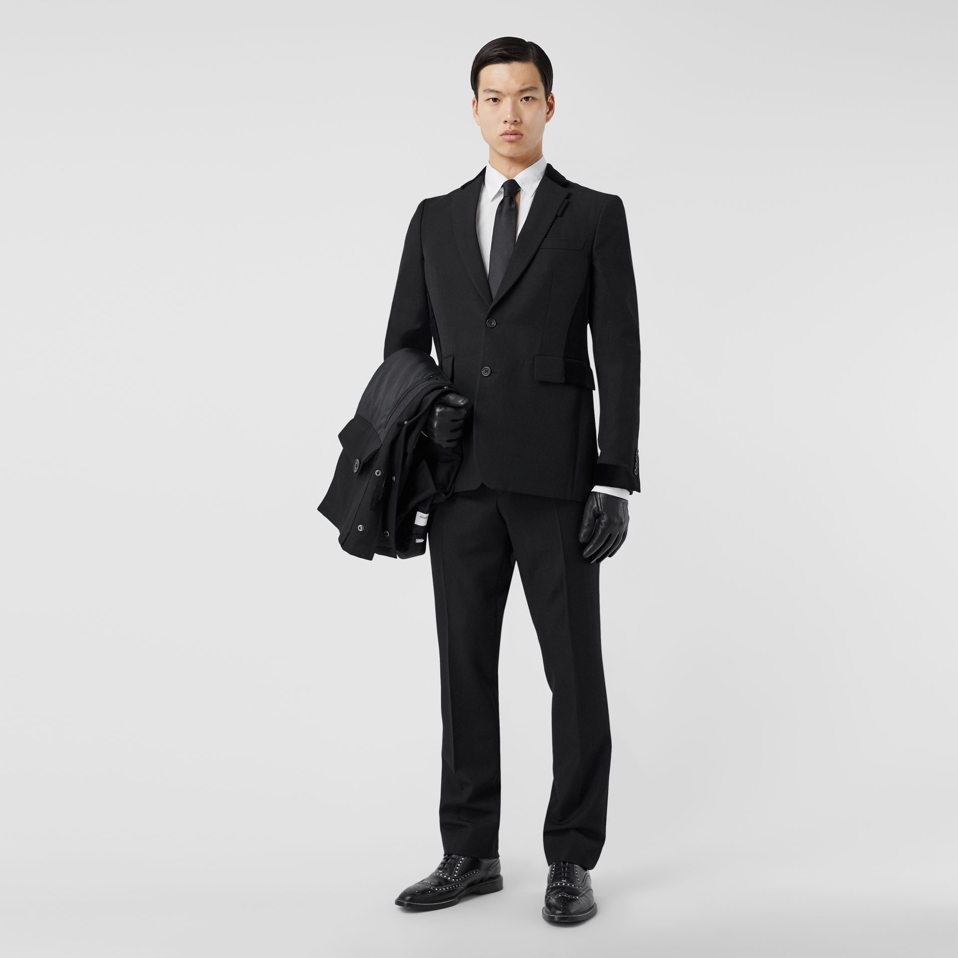 Classic Fit Velvet Trim Wool Tailored Jacket in Black - Men | Burberry Australia - gallery image 5