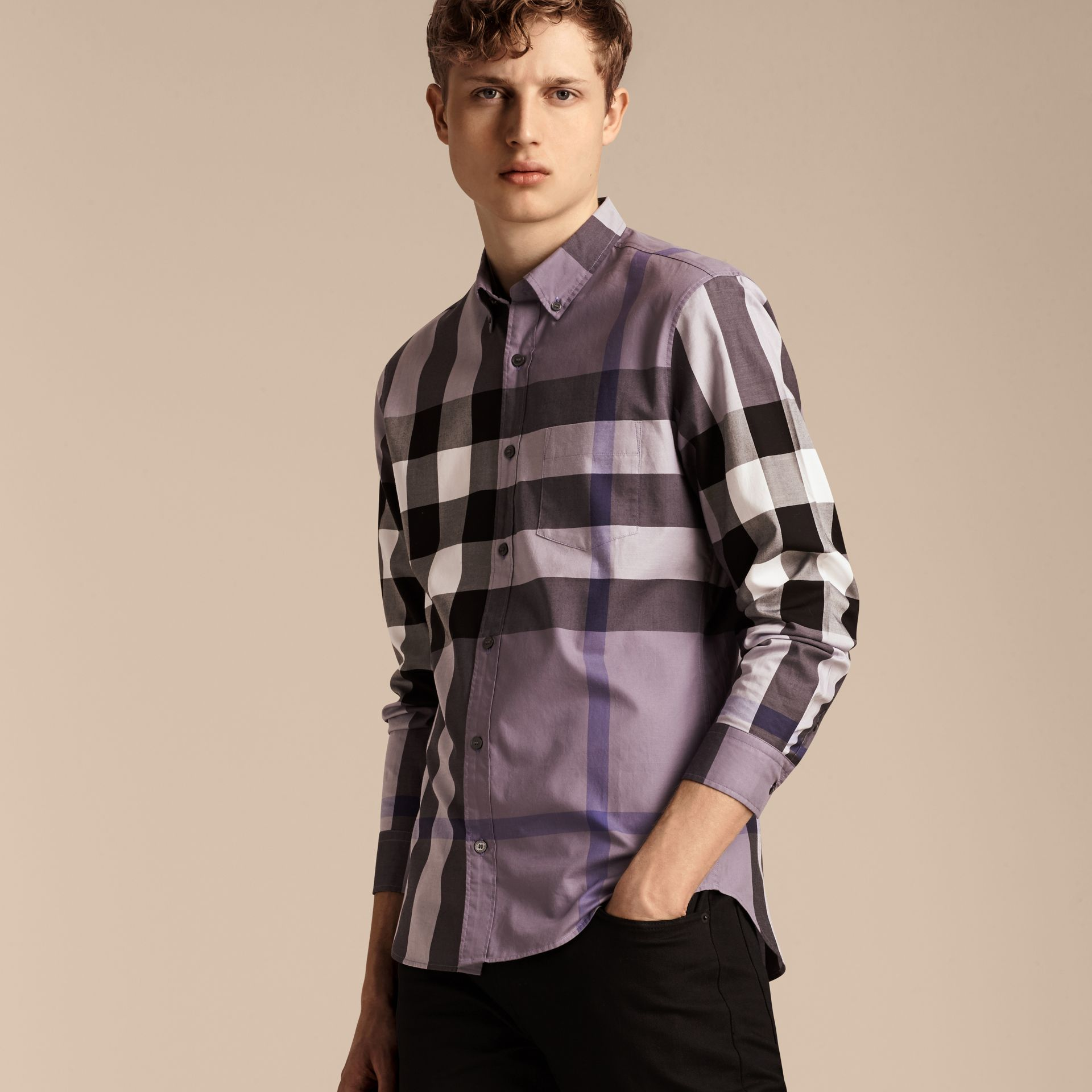 Lilac Check Cotton Shirt Lilac - gallery image 4