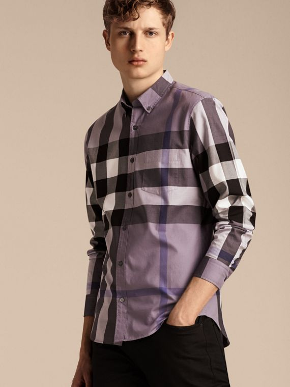 Lilac Check Cotton Shirt Lilac - cell image 3