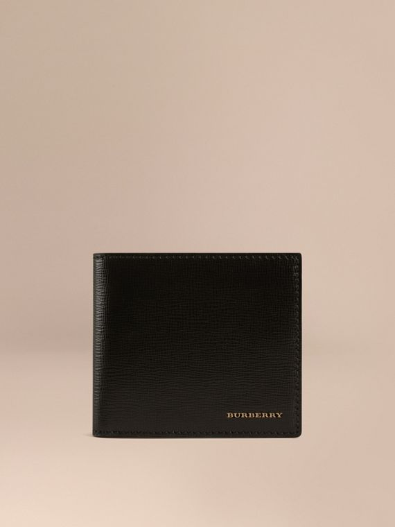 London Leather International Bifold Coin Wallet in Black | Burberry