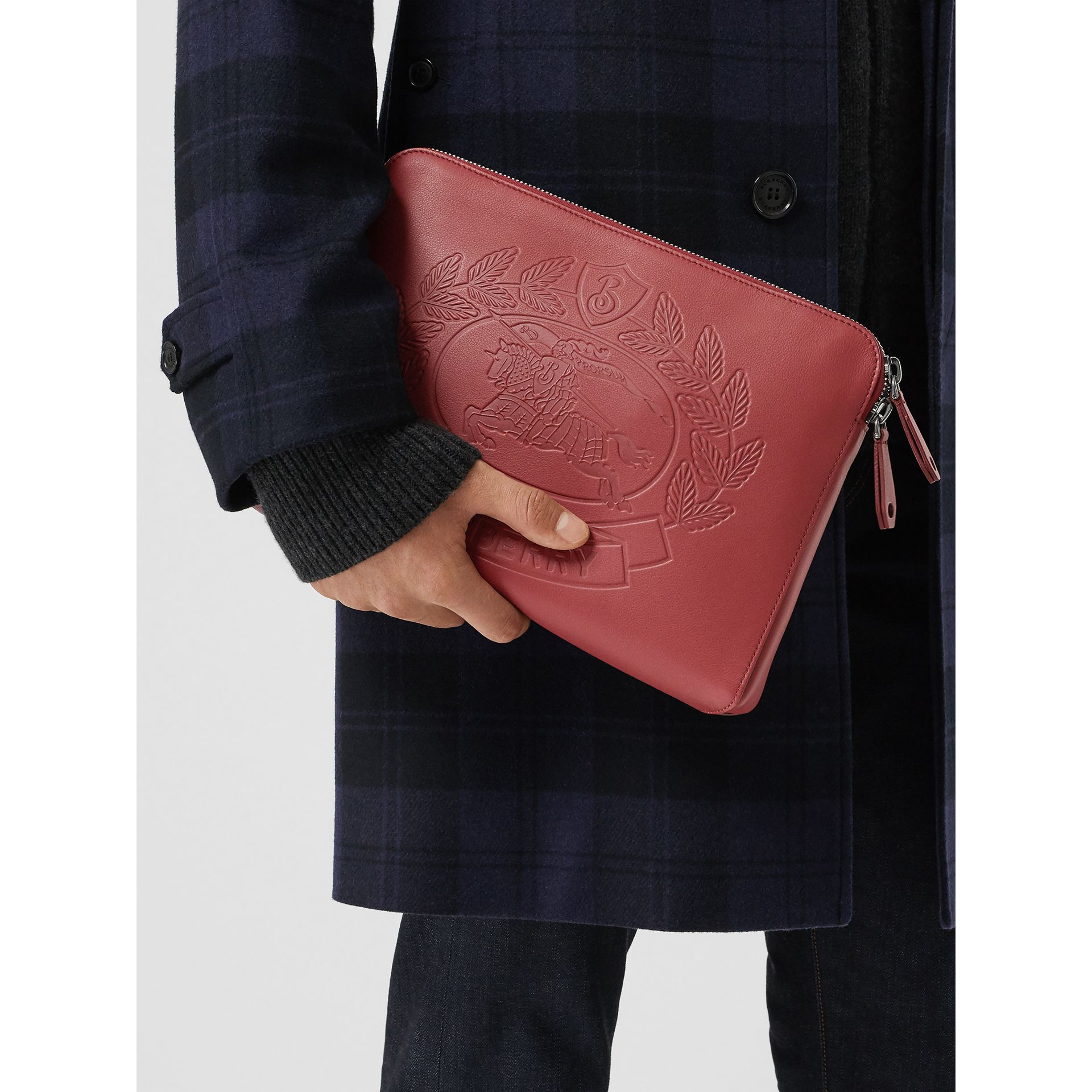 Embossed Crest Leather Document Case in Crimson - Men | Burberry Singapore - gallery image 3