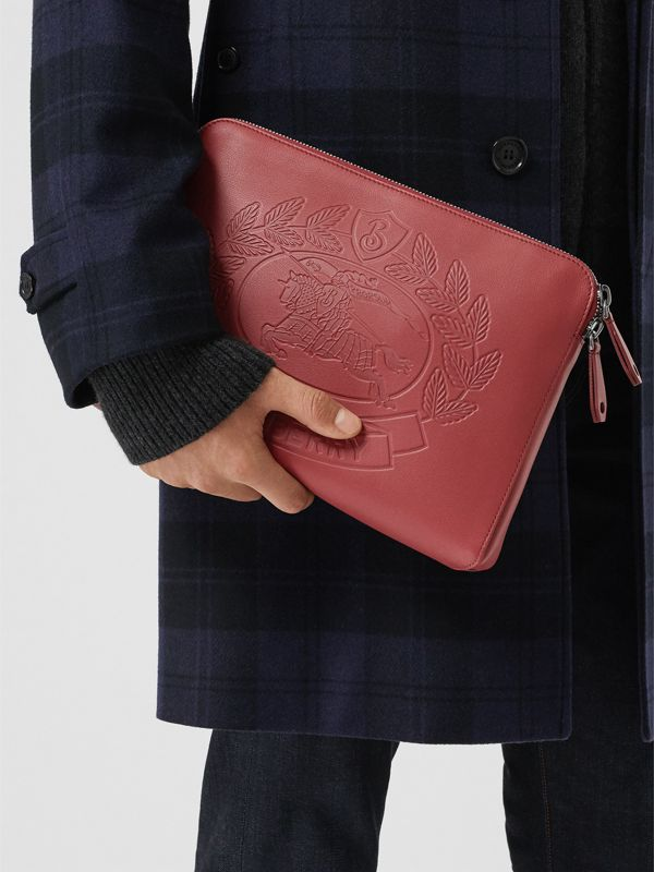 Embossed Crest Leather Document Case in Crimson - Men | Burberry - cell image 3