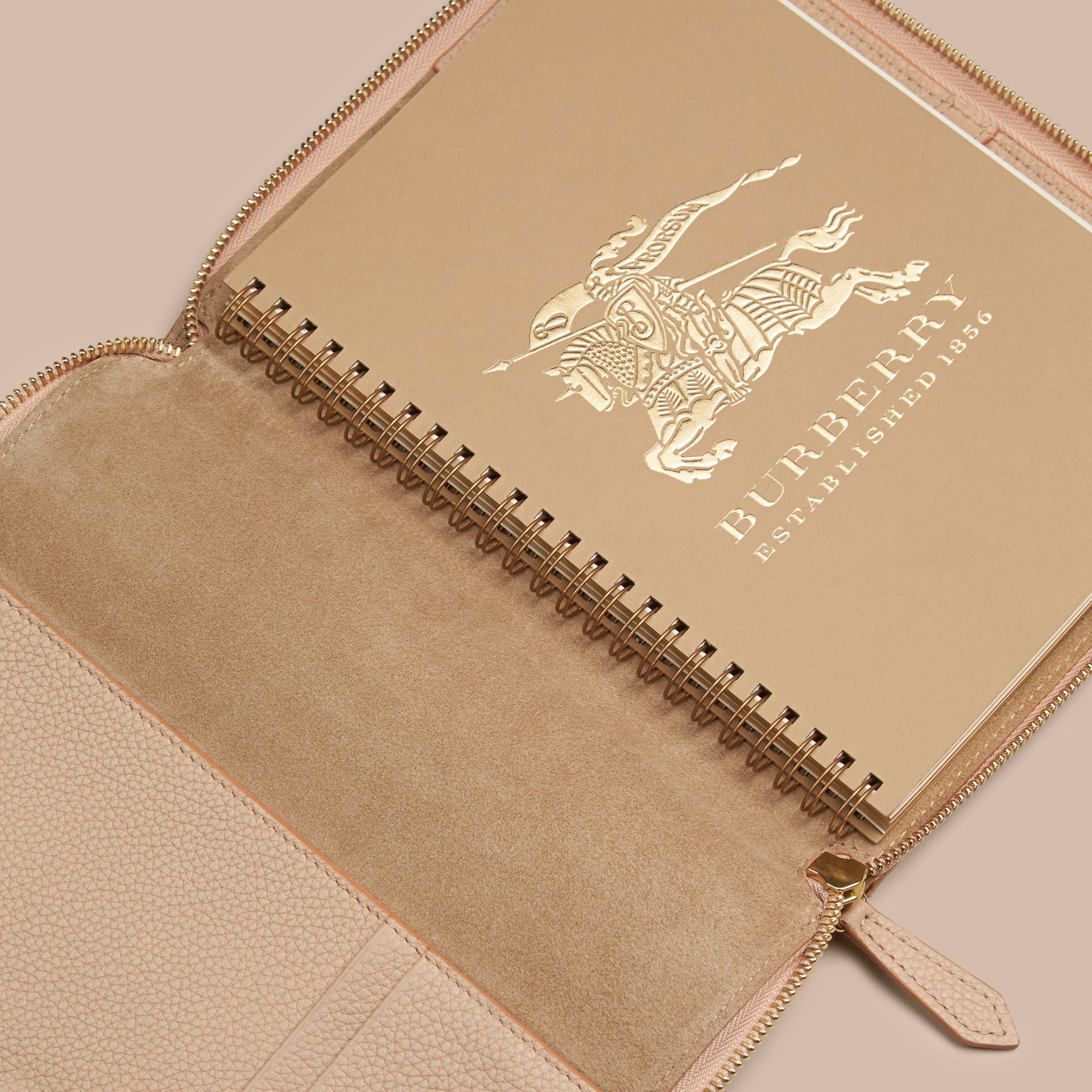 Pale apricot Ziparound Check-Embossed Leather A5 Notebook Pale Apricot - gallery image 3