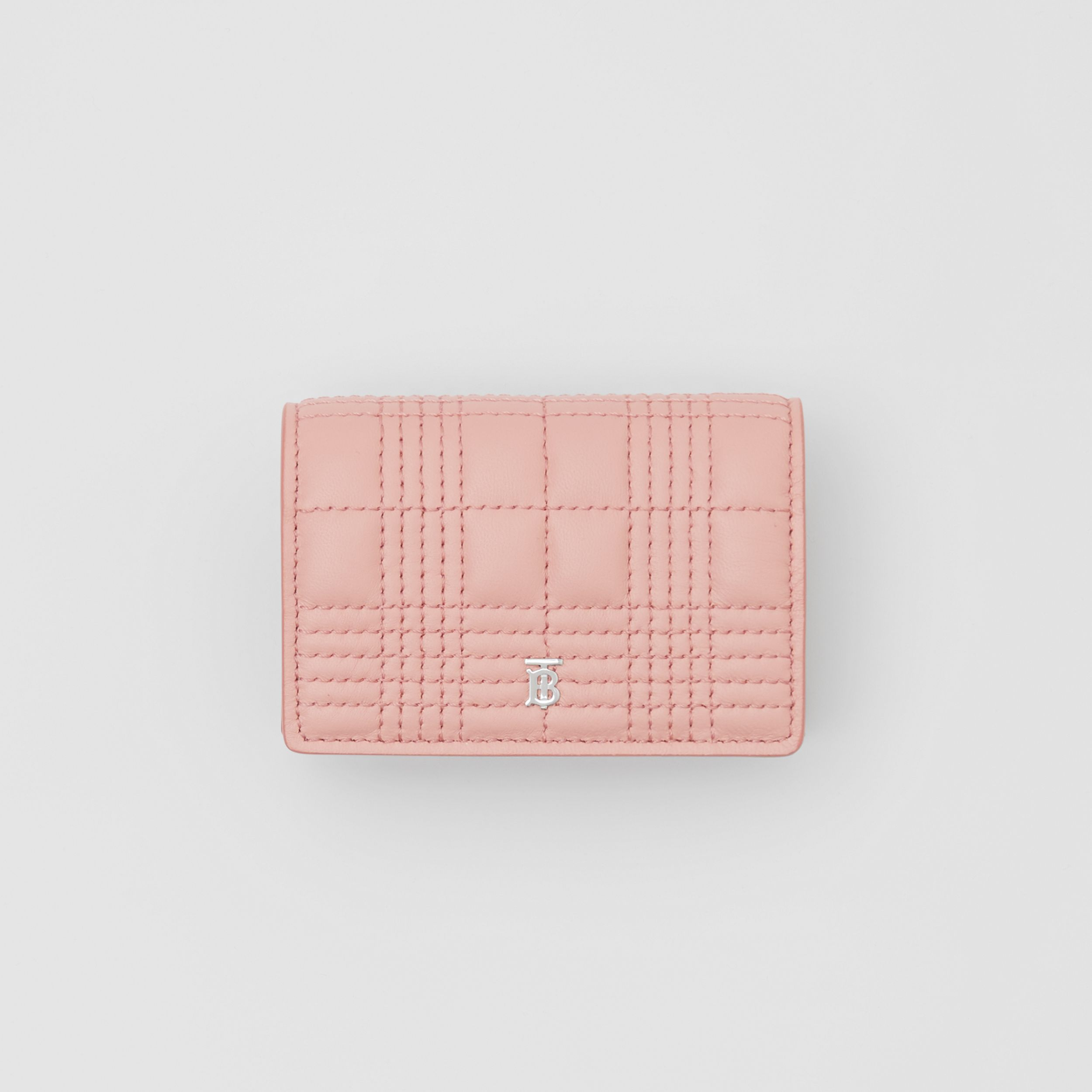 Quilted Lambskin Card Case with Detachable Strap in Blush Pink | Burberry - 4