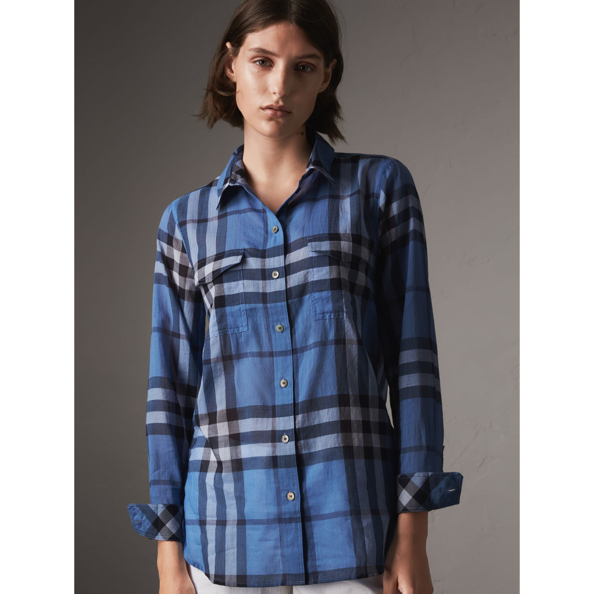 Check Cotton Shirt in Hydrangea Blue - Women | Burberry - gallery image 1