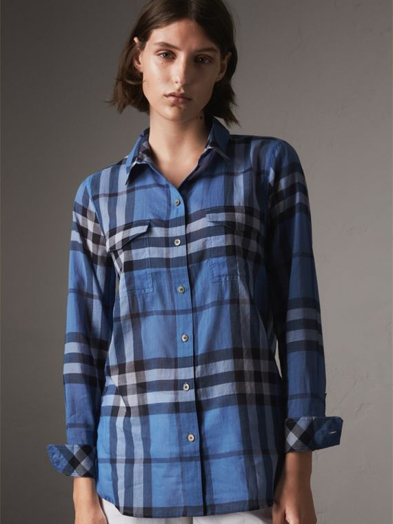 Check Cotton Shirt in Hydrangea Blue