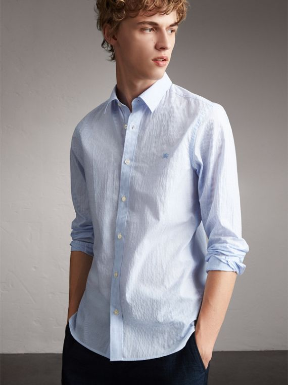 Striped Cotton Blend Shirt in Light Blue - Men | Burberry Canada
