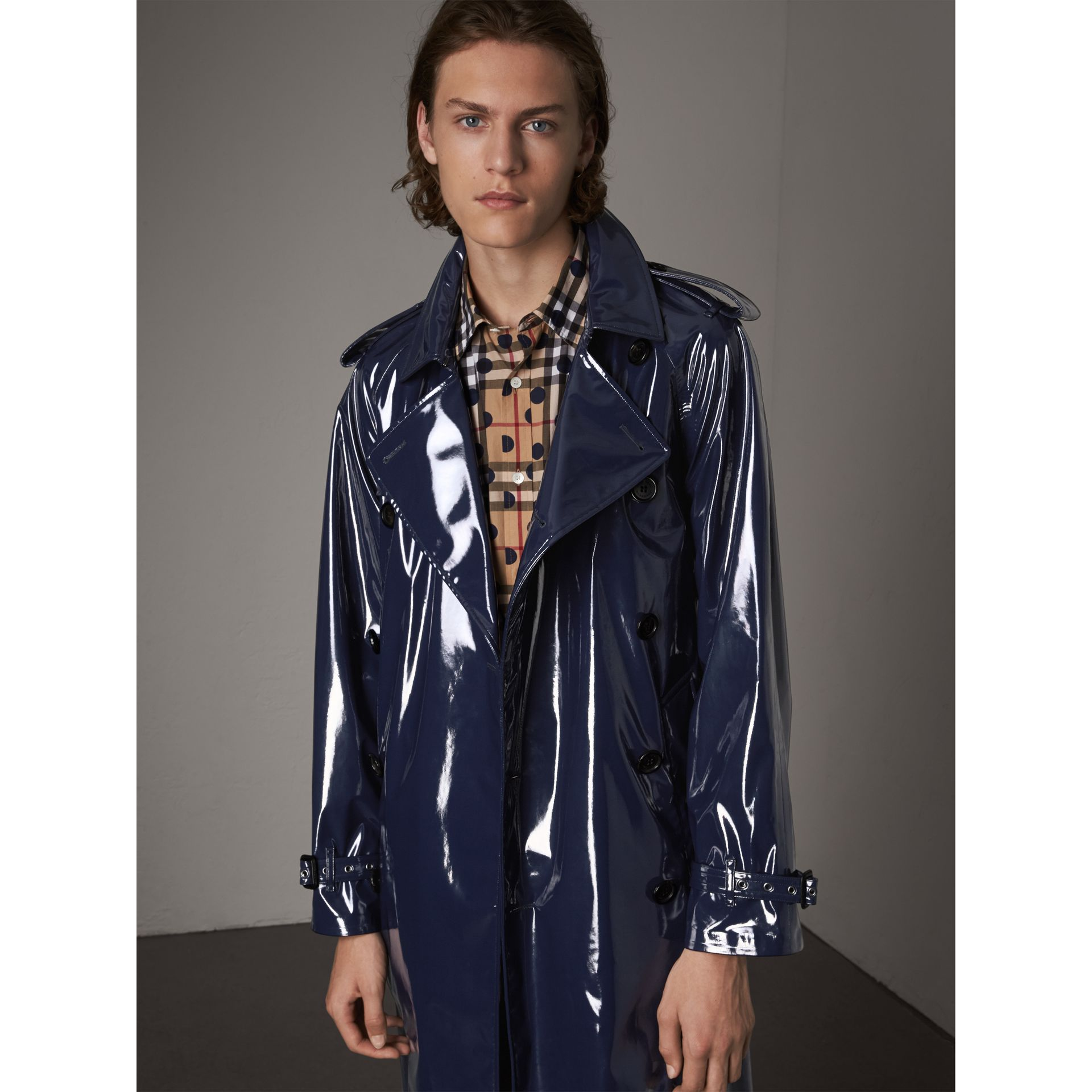 Laminated Cotton Trench Coat in Navy - Men | Burberry - gallery image 7